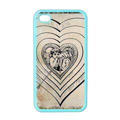 Heart Drawing Angel Vintage Apple Iphone 4 Case (color)