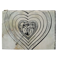 Heart Drawing Angel Vintage Cosmetic Bag (xxl)