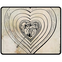 Heart Drawing Angel Vintage Double Sided Fleece Blanket (medium)
