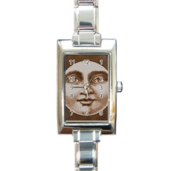 Moon Face Vintage Design Sepia Rectangle Italian Charm Watch