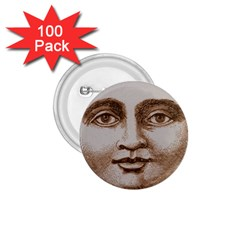 Moon Face Vintage Design Sepia 1 75  Buttons (100 Pack)