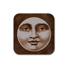 Moon Face Vintage Design Sepia Rubber Square Coaster (4 Pack)  by Nexatart