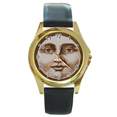 Moon Face Vintage Design Sepia Round Gold Metal Watch