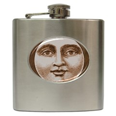 Moon Face Vintage Design Sepia Hip Flask (6 Oz)