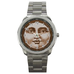 Moon Face Vintage Design Sepia Sport Metal Watch