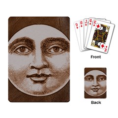 Moon Face Vintage Design Sepia Playing Card
