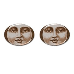 Moon Face Vintage Design Sepia Cufflinks (oval)