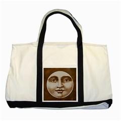 Moon Face Vintage Design Sepia Two Tone Tote Bag