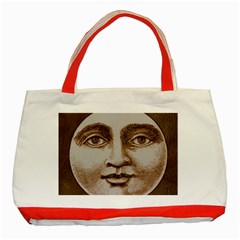 Moon Face Vintage Design Sepia Classic Tote Bag (red)