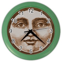 Moon Face Vintage Design Sepia Color Wall Clocks