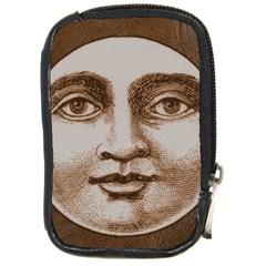 Moon Face Vintage Design Sepia Compact Camera Cases
