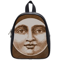 Moon Face Vintage Design Sepia School Bag (small)