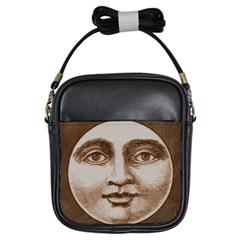 Moon Face Vintage Design Sepia Girls Sling Bags