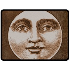 Moon Face Vintage Design Sepia Fleece Blanket (large)