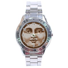 Moon Face Vintage Design Sepia Stainless Steel Analogue Watch