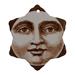 Moon Face Vintage Design Sepia Snowflake Ornament (two Sides)