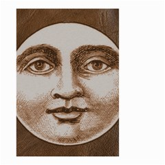 Moon Face Vintage Design Sepia Small Garden Flag (two Sides)