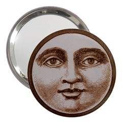 Moon Face Vintage Design Sepia 3  Handbag Mirrors