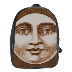 Moon Face Vintage Design Sepia School Bag (xl)