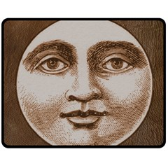 Moon Face Vintage Design Sepia Double Sided Fleece Blanket (medium)