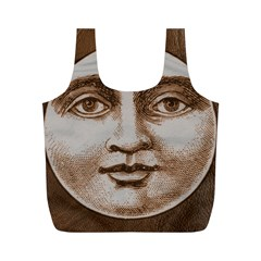 Moon Face Vintage Design Sepia Full Print Recycle Bags (m)