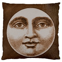 Moon Face Vintage Design Sepia Large Flano Cushion Case (one Side)