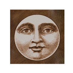 Moon Face Vintage Design Sepia Small Satin Scarf (square)