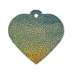 Background Cubism Mosaic Vintage Dog Tag Heart (two Sides)