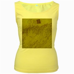 Vintage Map Background Paper Women s Yellow Tank Top