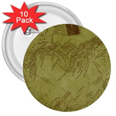 Vintage Map Background Paper 3  Buttons (10 Pack)