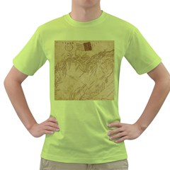 Vintage Map Background Paper Green T Shirt