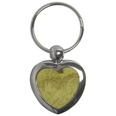 Vintage Map Background Paper Key Chains (heart)