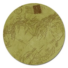 Vintage Map Background Paper Magnet 5  (round)
