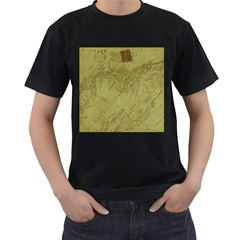 Vintage Map Background Paper Men s T Shirt (black) (two Sided)