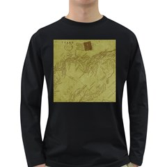 Vintage Map Background Paper Long Sleeve Dark T Shirts