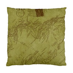 Vintage Map Background Paper Standard Cushion Case (two Sides)