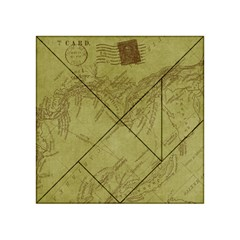 Vintage Map Background Paper Acrylic Tangram Puzzle (4  X 4 )