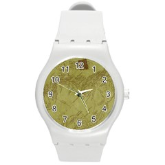 Vintage Map Background Paper Round Plastic Sport Watch (m)