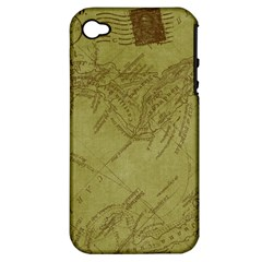 Vintage Map Background Paper Apple Iphone 4/4s Hardshell Case (pc+silicone)