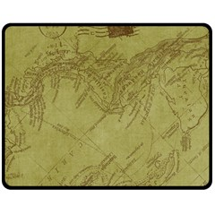 Vintage Map Background Paper Double Sided Fleece Blanket (medium)
