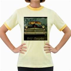 Vintage Car Automobile Women s Fitted Ringer T Shirts