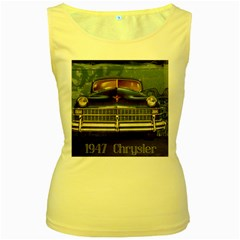 Vintage Car Automobile Women s Yellow Tank Top