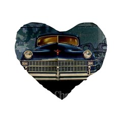 Vintage Car Automobile Standard 16  Premium Heart Shape Cushions