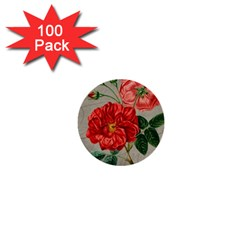 Flower Floral Background Red Rose 1  Mini Buttons (100 Pack)  by Nexatart