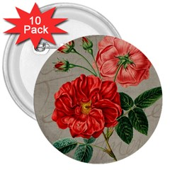 Flower Floral Background Red Rose 3  Buttons (10 Pack)