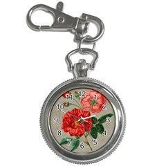 Flower Floral Background Red Rose Key Chain Watches by Nexatart