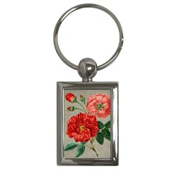 Flower Floral Background Red Rose Key Chains (rectangle)