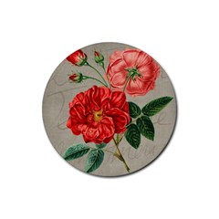 Flower Floral Background Red Rose Rubber Round Coaster (4 Pack)