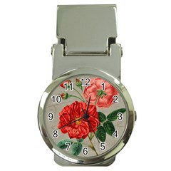 Flower Floral Background Red Rose Money Clip Watches