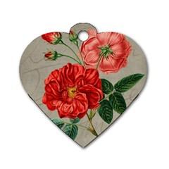 Flower Floral Background Red Rose Dog Tag Heart (one Side)